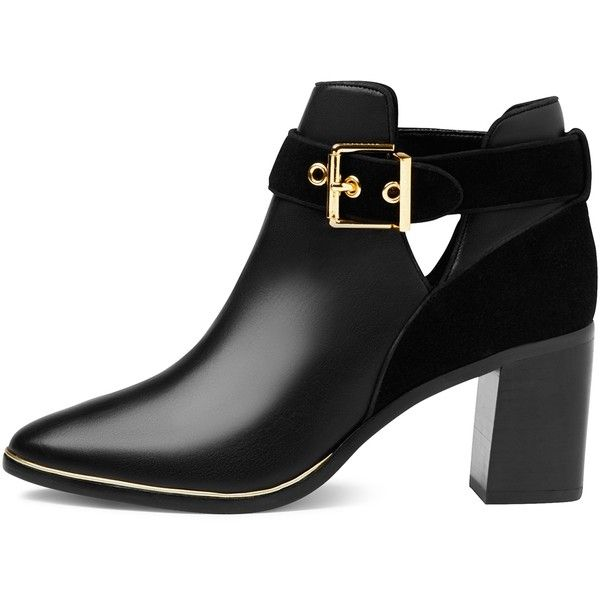Ted Baker Nissie Block Heel Ankle Boots (4.180 UYU) ❤ liked on Polyvore featuring shoes, boots, ankle booties, botas, ankle boots, zapatos, flat leather booties, pointed toe ankle boots, block heel booties and leather bootie