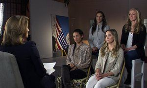 members of the USA women's soccer team talk about their equal pay claim on a TV progranmme
