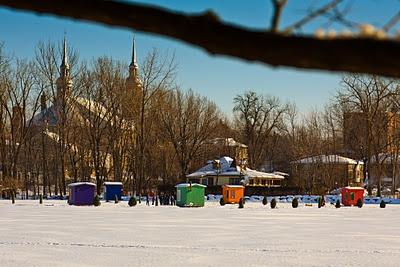 Ice Fishing Shacks on the Mille Îles River, Parc de la Rivière-des-Mille-Îles, Laval, Quebec, Canada