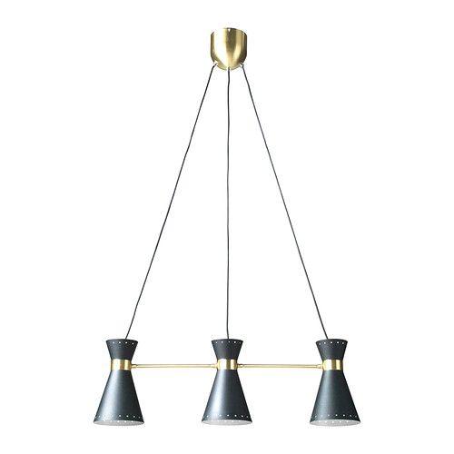 ARJEPLOG Suspension 3 lampes IKEA Ce luminaire diffuse une agréable lumière au dessus de la table de salle à manger ou du bar au moment des ...