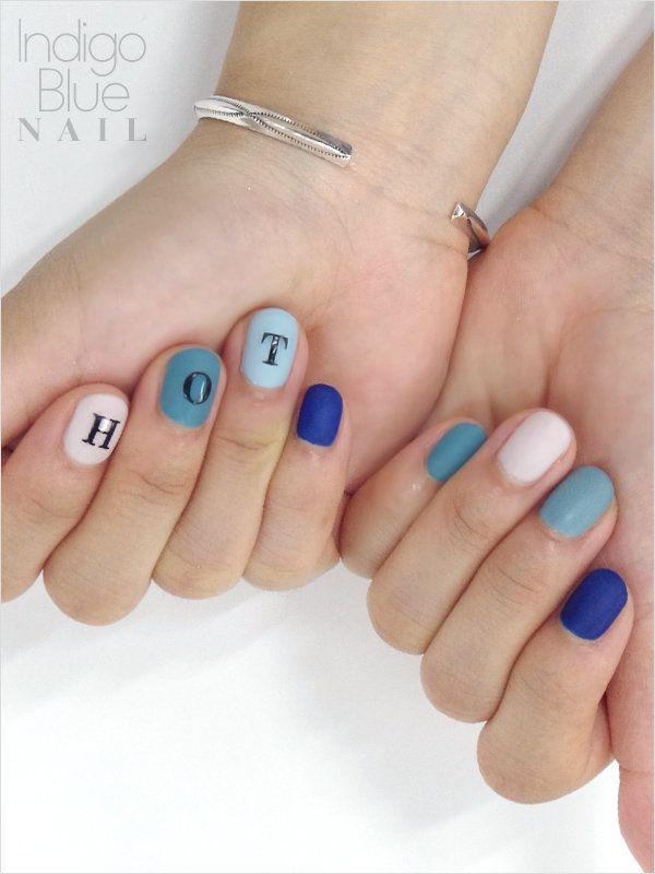 【ネイルSNAP】マットブルーを文字アートでデコ!
