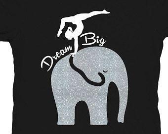 Tee Shirt gymnastique gymnaste gymnaste chemise gymnaste Glitter chemise gymnastique filles Mesdames gymnastique gymnastique Sparkle rêve gros éléphant