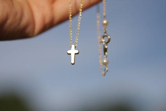 tiny cross necklace mini cross necklace gold by bluegrassloft, $22.00