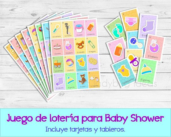 Juego de lotería para baby shower. Mexican lotery game for baby shower in Spanish. Lotería para baby shower. Juegos para baby shower.