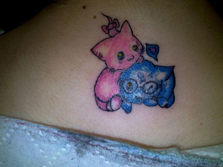 Colourful kittens..cat tattoo..colouful tattoo