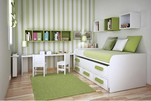 Bedroom Designs, Remarkble Green Themed Your Small Bedroom Completed With Cool Funiture And White Wall And Green Rug And Green Pillows:  Add...