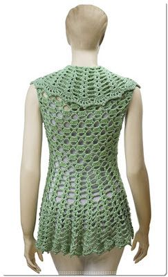 "Madame Craft: Colete ""turtleback"" verde em crochê"