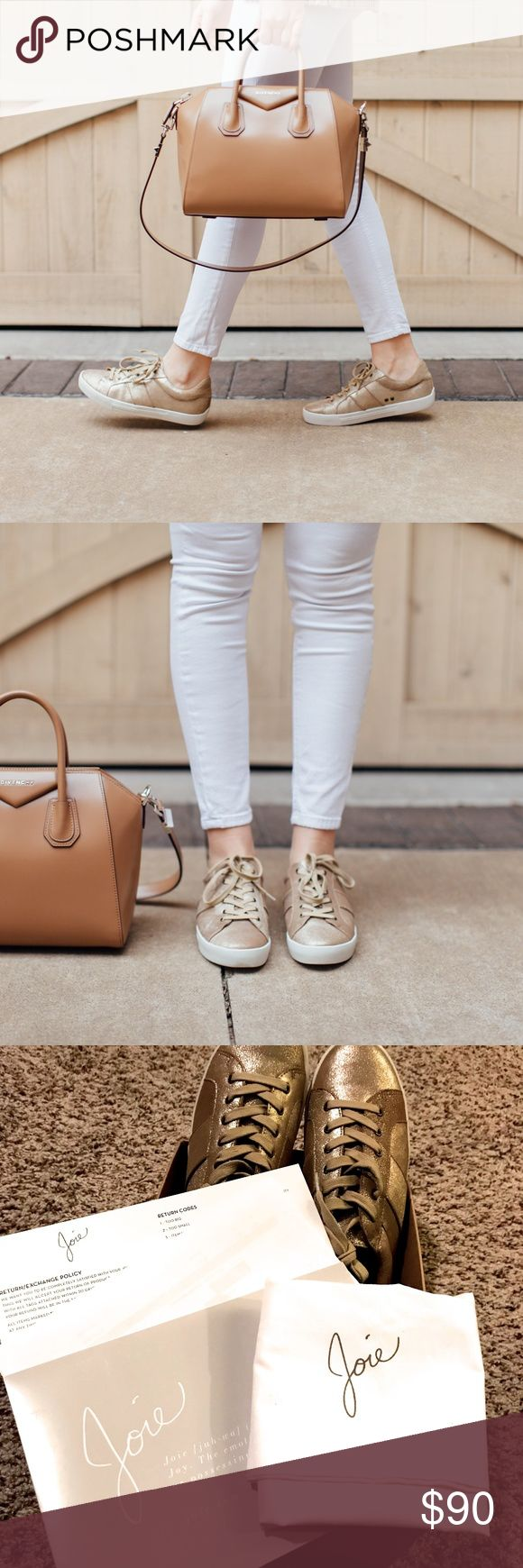Joie Dakota Sneaker Gold Saglia Brand new never worn. Add a casual-cool feel to any look with the Dakota sneakers in crisp gold leather featuring a slightly raised platform and a lace-up front. 100% leather with rubber outsole.  Comes with joie shoe bag. Joie Shoes Sneakers