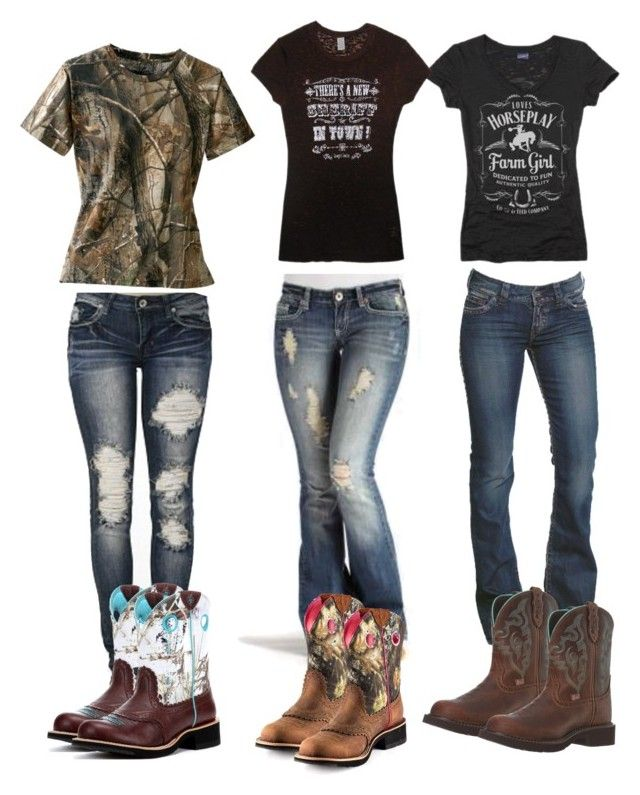 """ATV trip part 1"" by johndeerhater ❤ liked on Polyvore featuring DK, 1921, Horseplay, Cowgirl Justice and Justin Boots"