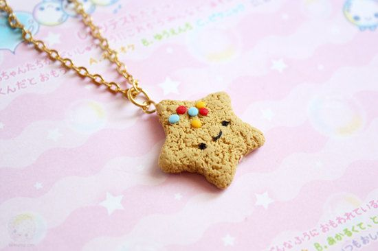 Star Cookie necklace  Cute Polymer Clay Food Miniature by kukishop, $16.00