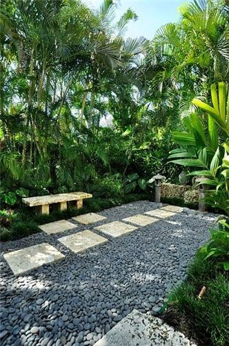 Elements from both open and intimate small garden design can be incorporated in numberless permutations. Here, simple hardscapes with contrasting color, texture and sound are paired with simple seating to give the interior space an unlimited feel. This is surrounded by a tropical forest with understory and overstory, thus providing privacy in an open, meditative space.