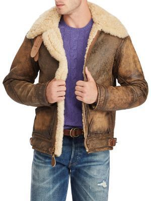 Polo Ralph Lauren Shearling-Trimmed Leather Bomber Jacket   men s ... 02a5e5afbcb2