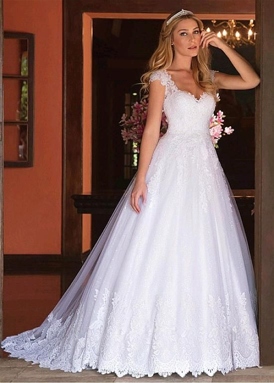 Magbridal Delicate Tulle V-neck Neckline A-line Wedding Dresses With Lace Appliques & Beadings