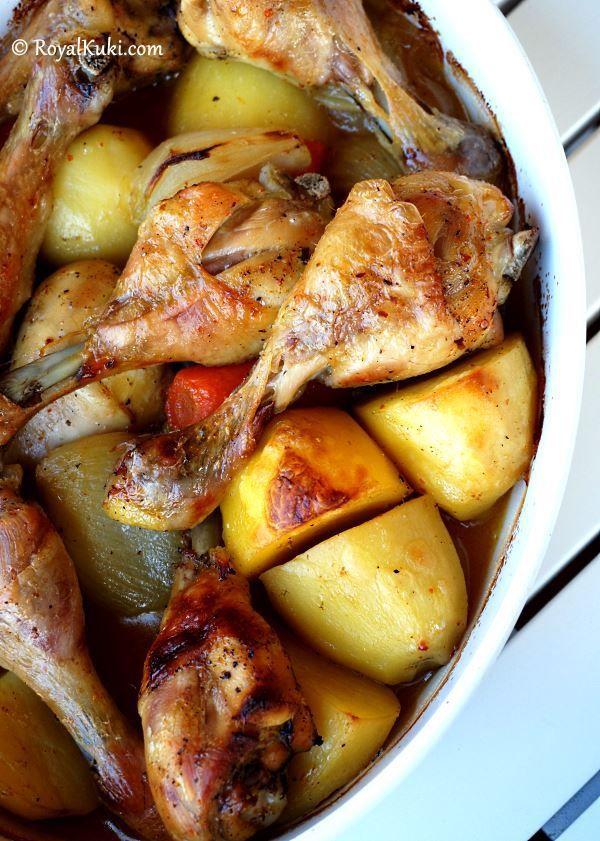 En Kolay ve En Hızlı Yemek Tarifi, Fırında Patatesli Tavuk incik