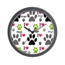 I Love Dogs Wall Clock