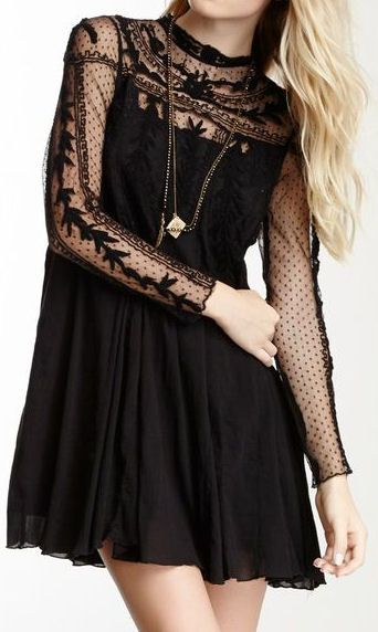 Pinterest: @MagicAndCats ☾ long sleeve dotted swiss lace sleeves all black mini dress + necklace | spring summer style