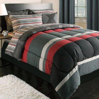 Teen Boy Black Gray Red Stripe 5pc Twin Xl Dorm Bed In Bag
