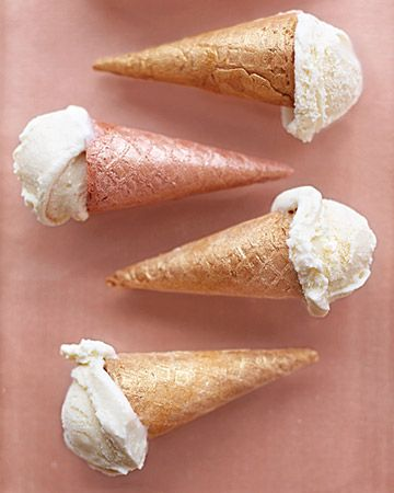 """Mini Ice Cream Cones: brush mini ice cream cones with different shades of luster dust for a metallic look. (waffle cones from chef-source. com . . . Mini Ice Cream Cone 2.5"""" Long 1"""" Diameter at top 48.95 Pack Size: 240 count)"""