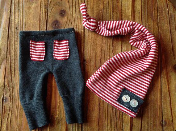 Newborn Boys Photo Prop Upcycled Pant Set - Baby Photo Prop - Boys Newborn - Ready To Ship