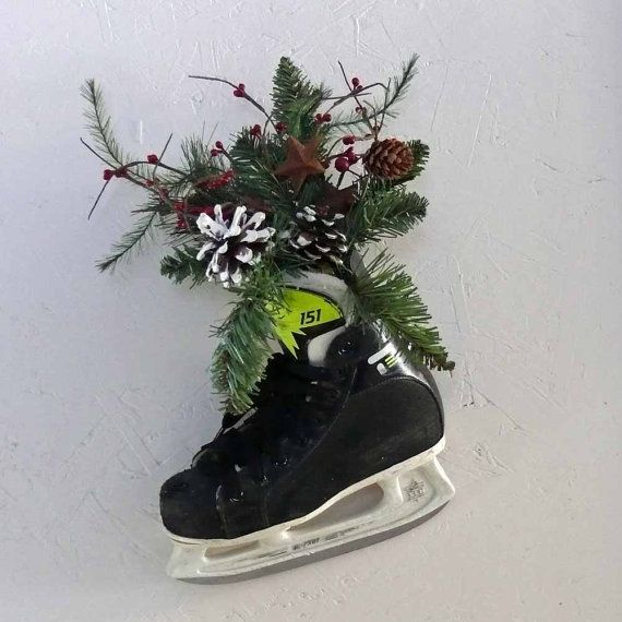 Recycled Hockey Skate Wall Hanging or by SnowmanCollector on Etsy
