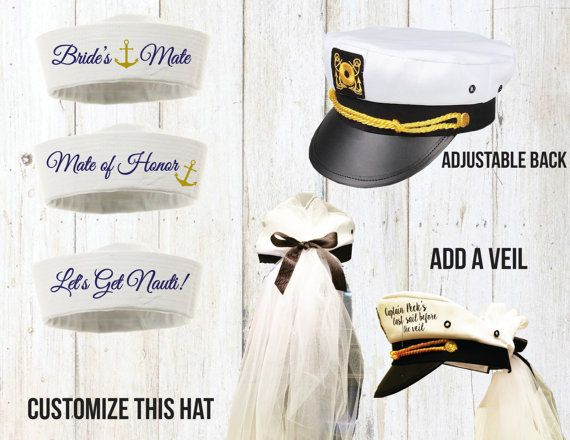Each item is made to order , and may be customized in any way. Purchase a captains hat for the Bride (with a veil) and sailor hats for the whole group. Captain hats are adjustable at the back. Veil is sewed onto the back. It is made of cut strips of tulle brought together with a puff on top. The ribbon color can be changed as well as the color used for the tulle. Message me if you want to change the colors.   To order just:  ♥ Choose number of veiled captain and sailor hats needed from the…