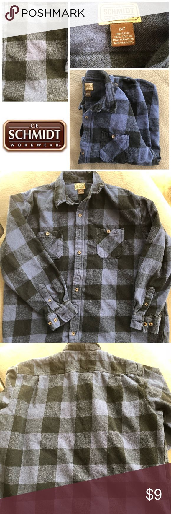 Men's Blue Flannel Shirt Blue and black thick flannel shirt. Size xxl. Condition is good; it does have some pulling but no stains or tears.   ⚠️This item will be up for one week and then donated⚠️ Shirts