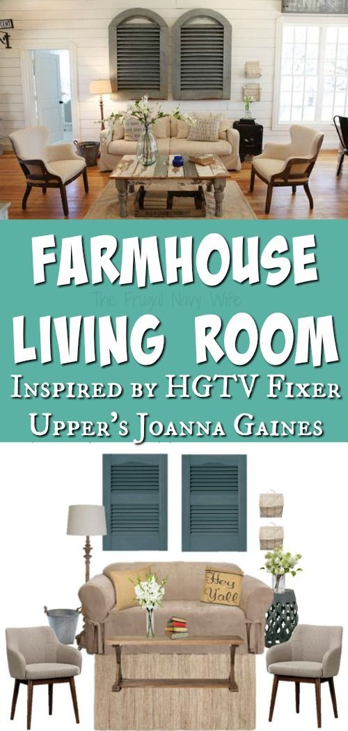 Looking for a great farmhouse living room? This Fixer Upper HGTV Living Room is one of my favorites. I'll show you how to get the look on a tight budget!