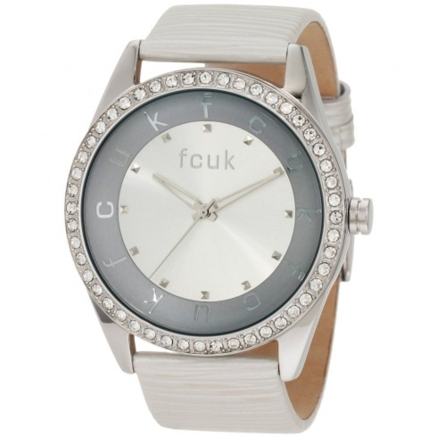 French Connection Ladies Stainless Steel Leather Strap Watch