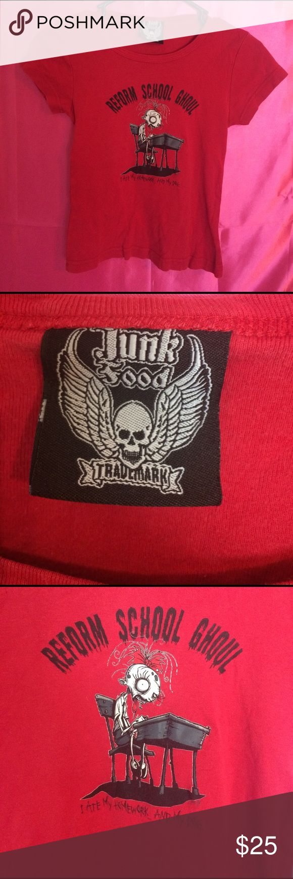 Super rare junk food shirt Super rare junk food trademark red T-shirt reform school ghoul size extra small Goth oldschool punk girl style Junk Food Tops Tees - Short Sleeve