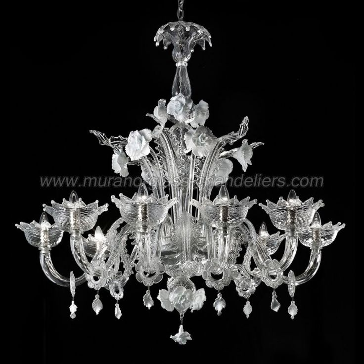 """Artico"" 8 lights transparent and white Murano glass chandelier"
