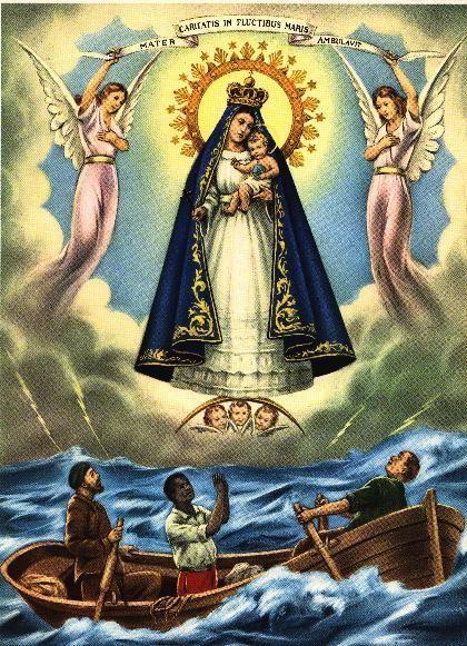 Virgen de la Caridad del Cobre / 8 de Septiembre / Año: 1612 / Lugar: El Cobre, Cuba / Aparición de la Virgen sobre la espuma del mar a los tres Juanes y la niña Apolonia.