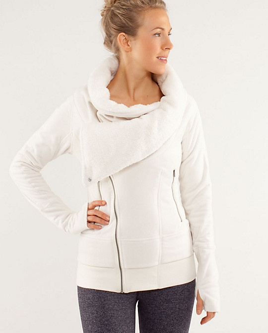 We girls love our LuLu Lemon. She'll love the cozy comfort of this new Off The Mat Jacket. Online only.