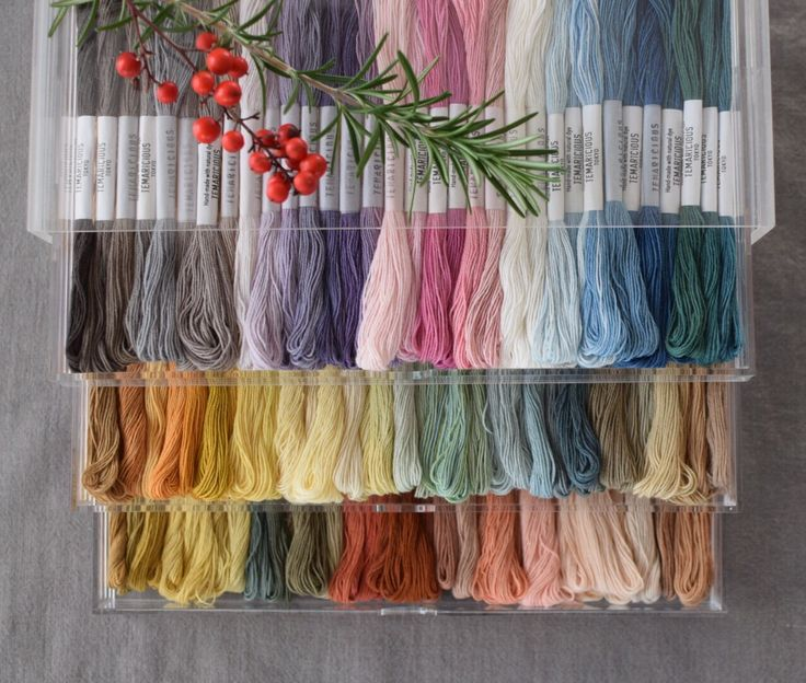 Christmas gift for craft lovers - 100 delicate shades cotton thread in a drawer. 100% natural dye. www.temaricious.bigcartel.com