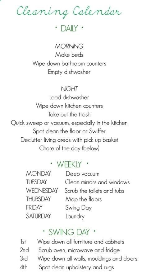 Weekly cleaning list - Click image to find more DIY & Crafts Pinterest pins