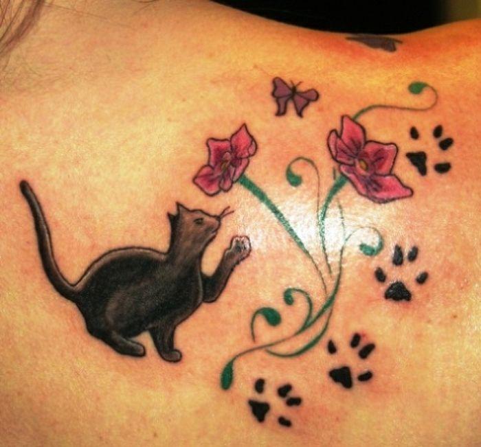 Les 10 meilleures id es de la cat gorie tatouages de pattes de chat sur pinterest tatouages d - Tatouage chat noir ...