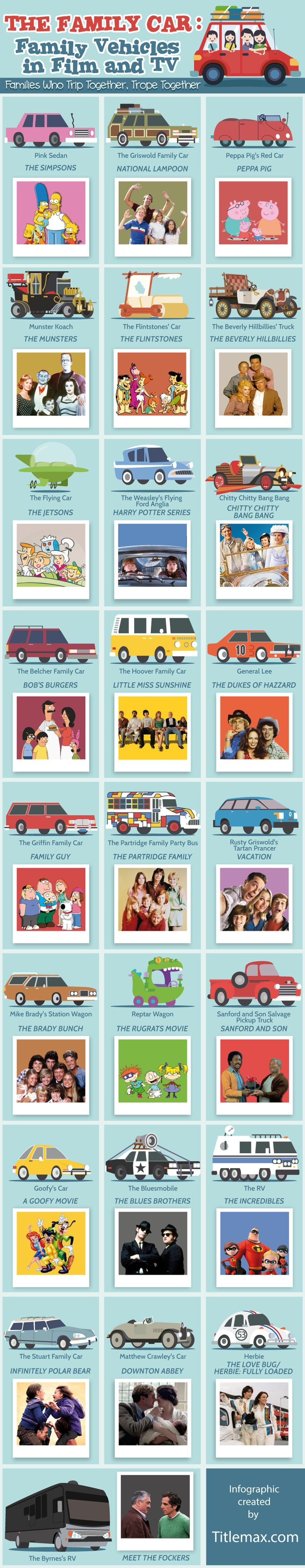 The Family Car: Family Vehicles in Film and TV #Infographic #Entertainment #Transportation