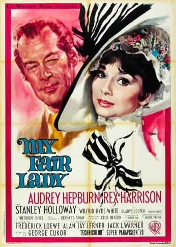 Filme: My Fair Lady (Minha Bela Dama, 1964). Direção: George Cukor. Elenco: Audrey Hepburn, Rex Harrison, Stanley Holloway.