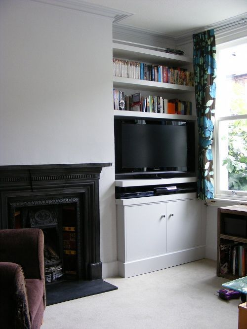 built in shelves and tv corner