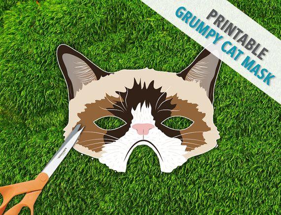 Grumpy Cat Mask | Photo Booth Prop | Halloween | Printable Mask