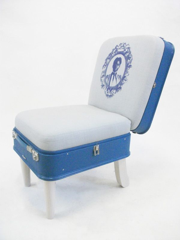 recreate furniture. this vintage suitcase has been given new life as a comfortable classic chair blue recreated into perfect functional wi recreate furniture