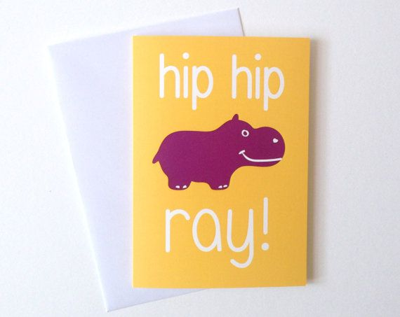 Hip Hip Hippo Ray! You cant help but giggle at this cute and clever animal pun Birthday card! An original design by hello DODO, this card is