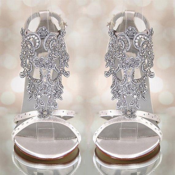 Design Your Own Wedding Shoes, Ivory Wedding Shoes, Bling Wedding, Vintage Wedding, Crystal Heels, Vintage Bridal, Ivory Wedding Sandals