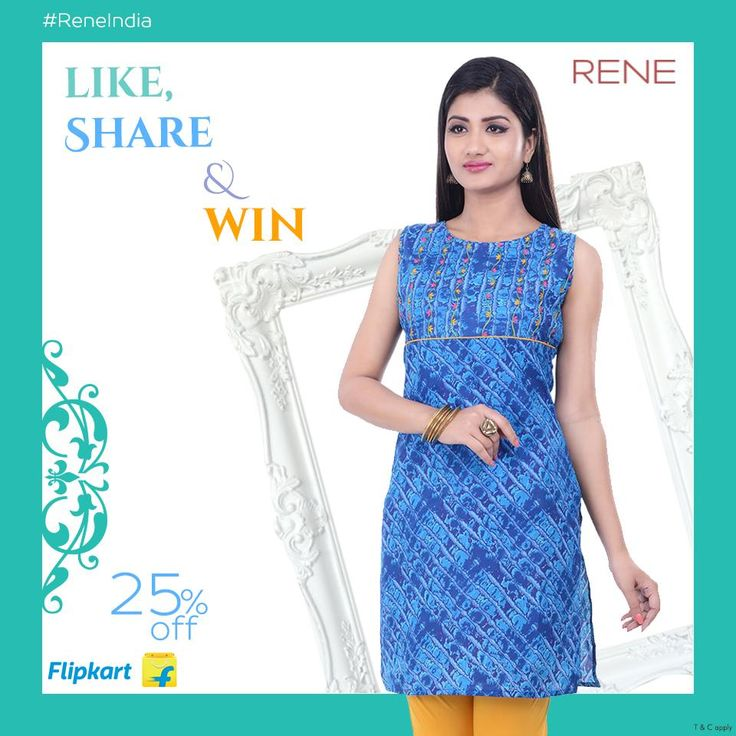 RENE brings this kurti to give you a comfort look in this Summer. It is made from Cotton Fabric, Sleeve less, Round neck, a simple Floral detailing on the yoke gives an elegant look. It has Regular Fit, Side Slits and all over Printed. This kurti will surely lend you an adorable look when teamed with contrast leggings. Sleeves will be provided with sleeveless kurti. Care: Wash separately in cold water; do not bleach; dry in shade; medium to hot iron. #WomenKurti #Rene #ReneIndia