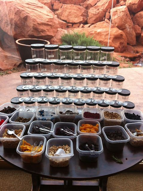 Make your own trail mix! What a fabulous idea! Love the personalized jars, too!