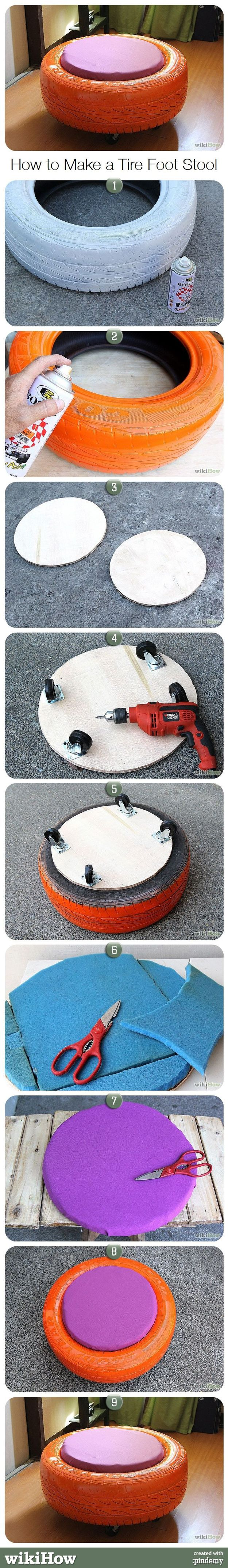 DIY Tire Foot Stool | Cool DIY Man Cave Furniture on a Budget by Diy Ready http://diyready.com/23-more-awesome-man-cave-ideas/