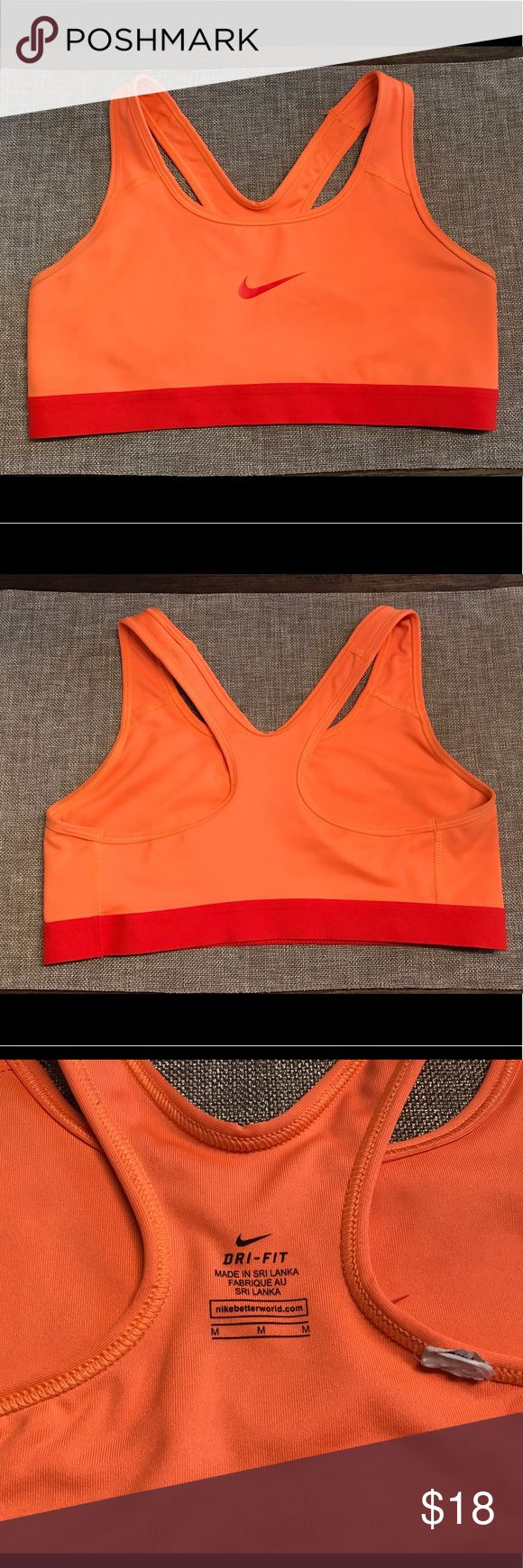 Nike Dri-Fit Orange/Red Sports Bra- Medium In excellent condition. Nike Dri-Fit Sports Bra is in size Medium. Color is orange with red Nike sign and elastic band. Nike Intimates & Sleepwear Bras