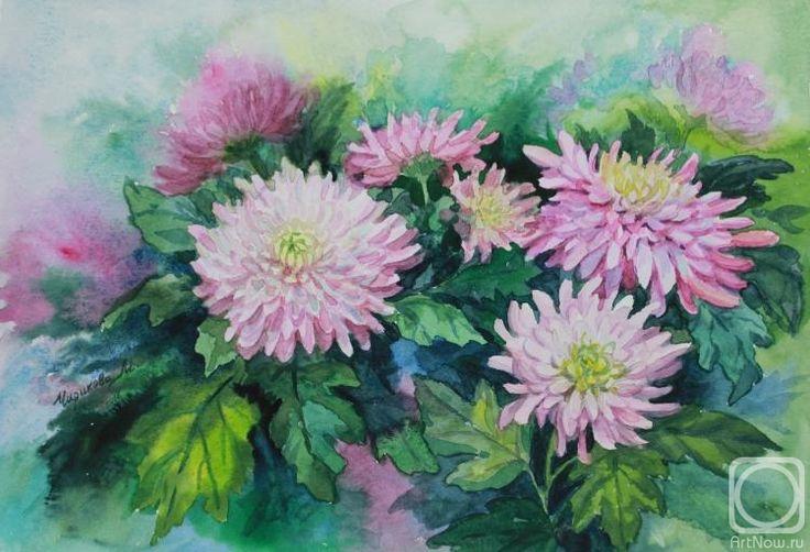 Хризантемы рисунок акварелью поэтапно