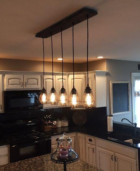Reclaimed Wood Chandelier - 5 Cage Pendants - Customizable – Hangout Lighting