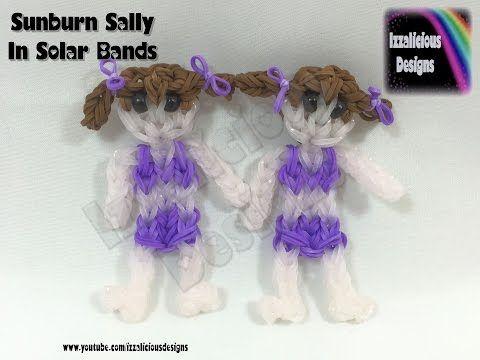 Rainbow Loom Sunburn Sally Action Figure doll charm using SOLAR bands - YouTube