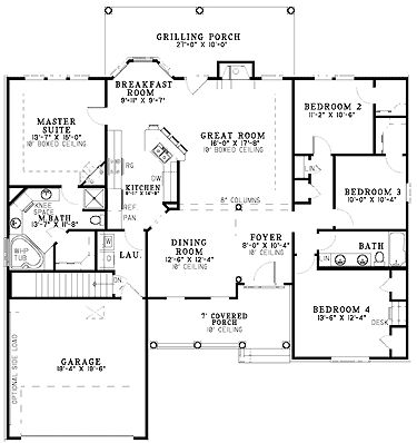 Floor plans aflfpw20667 1 story french country home with for One story french country house plans